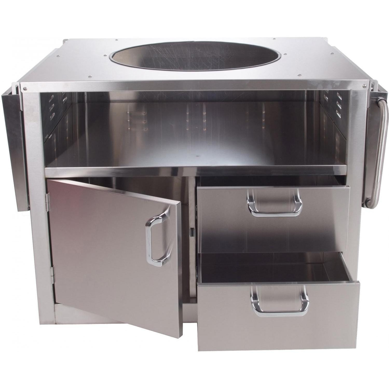 BBQ Guys Stainless Steel Kamado Cart Open With Shelves Down. Stainless  Steel Cart For Large Big Green Egg ...