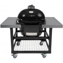 Primo Ceramic Smoker Grill On Cart With Stainless Side Tables - Oval Large