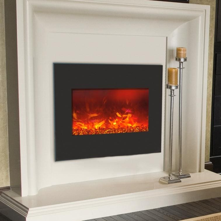Amantii Zero Clearance 26 Inch Built In Electric Fireplace Black Glass Zecl 26 Gas Log Guys
