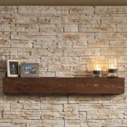 The Outdoor GreatRoom Company 60-Inch Gallery Non-Combustible Linear Tavern Brown Supercast Wood Mantel - GWMT-60 image