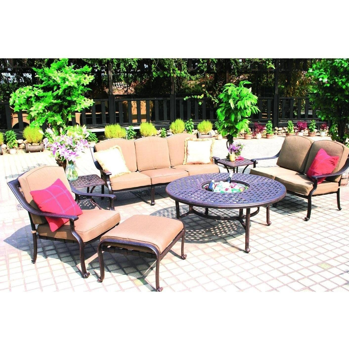 Darlee Ten Star 7 Piece Cast Aluminum Patio Conversation Seating Set Chat T