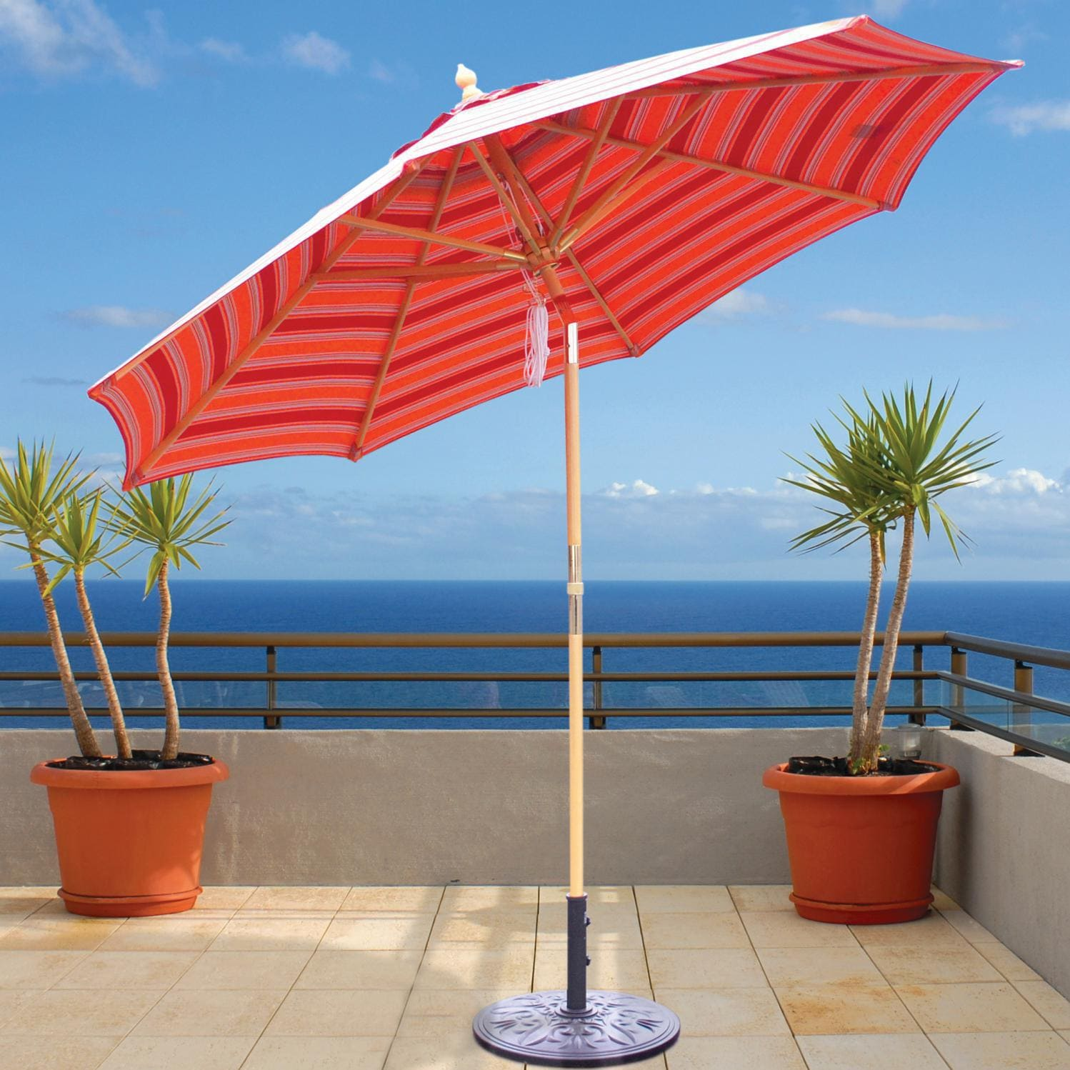 c61a6fc72bade Galtech 9 Ft Wood Patio Umbrella With Crank Lift And Rotational Tilt - Dark  Wood. zoom_in