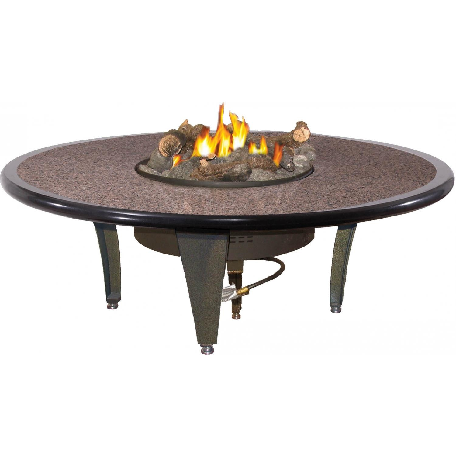 Peterson Outdoor Campfyre 54 Inch Propane Gas Manual Safety Pilot Granite Fire Pit Table With