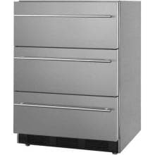 Summit Commercial 24-Inch 3.1 Cu. Ft. Outdoor Triple Drawer Refrigerator With Professional Handles - Stainless Steel - SP6DSSTBOS7THIN Summit 3.1 Cu. Ft. Outdoor Triple Drawer Refrigerator - Stainless Steel - Angle