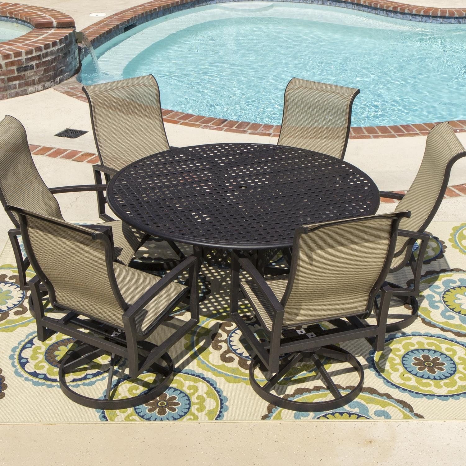 Piece Sling Patio Dining Set With Swivel Rockers And Round Table