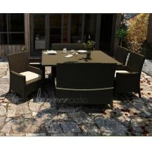 Forever Patio Hampton 8-Person Resin Wicker Patio Dining Set With Glass Top Table - Chocolate Forever Patio Hampton Patio Dining Set With Glass Top Table in Chocolate with Heather Beige Cushion and Cocoa Welt