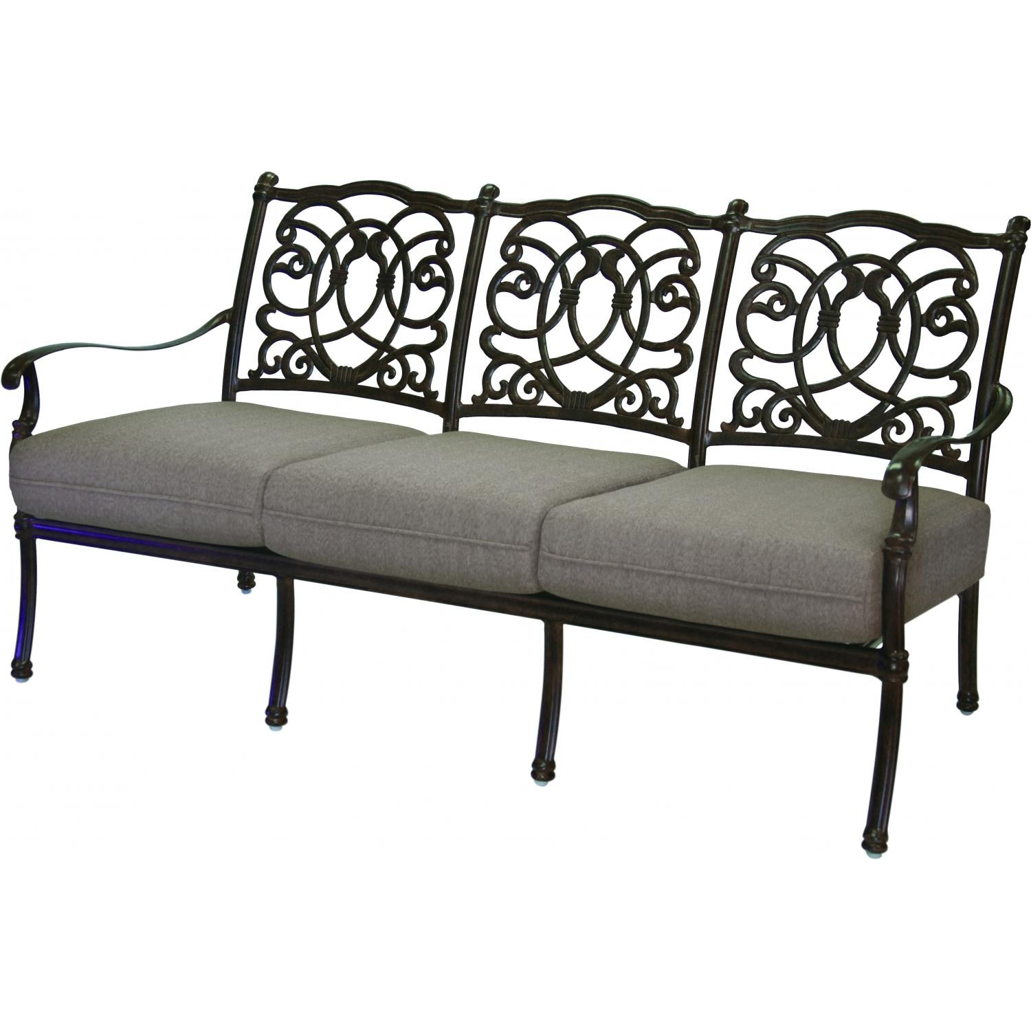 Darlee Florence 4 Piece Cast Aluminum Patio Conversation Seating Set Mocha