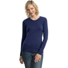 Port Authority Ladies Modern Stretch Cotton Long Sleeve Scoop Neck Shirt Large - Sapphire Blue