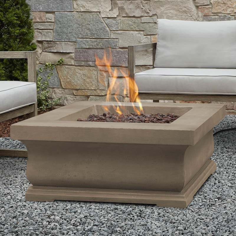 Real Flame Treviso 34 Inch Square Propane Fire Pit Dove