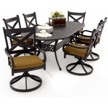 Avondale 7 Piece Aluminum Patio Dining Set With Swivel Rockers And Oval Table By Lakeview Outdoor Designs - Canvas Teak Avondale 6-Person Aluminum Patio Dining Set With Swivel Rockers And Oval Table - Corner View