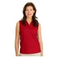 Port Authority Ladies Silk Touch Sleeveless Polo Shirt Medium - Red image