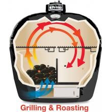 Primo All-In-One Oval Large Ceramic Kamado Grill With Cradle & Side Shelves - 7500 Primo All-In-One Oval Large Ceramic Kamado Grill With Cradle & Side Shelves - Cooking Configuration - Grilling & Roasting - Half Charcoal