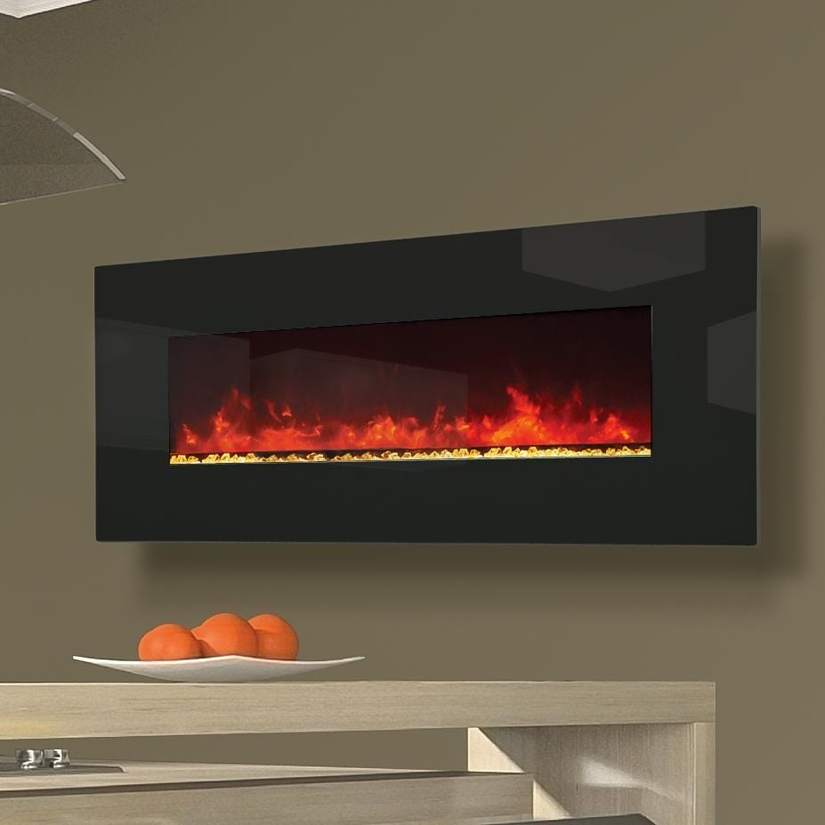 Amantii 50-Inch Wall Mount Electric Fireplace - Black Glass - WM-50 Amantii - Amantii 50-Inch Wall Mount Electric Fireplace - Black Glass - WM