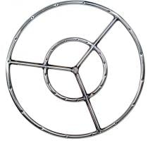 19 Inch Stainless Round Double Natural Gas Fire Pit Ring