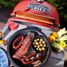 Gourmet Guru Ceramic Kamado Grill On Cypress Wood Vintage Table - Red Gourmet Guru Ceramic Kamado Grill On Cypress Wood Vintage Table - Red - Food Overhead