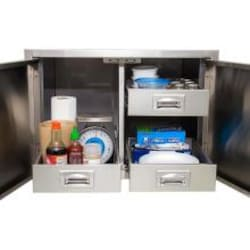 BBQGuys.com Sonoma Series 30-Inch Stainless Steel Enclosed Cabinet Storage With Drawers image