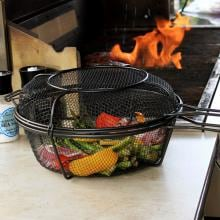 11-Inch Diameter Jumbo Non-Stick 3-In-1 Chef's Grill Basket And Skillet