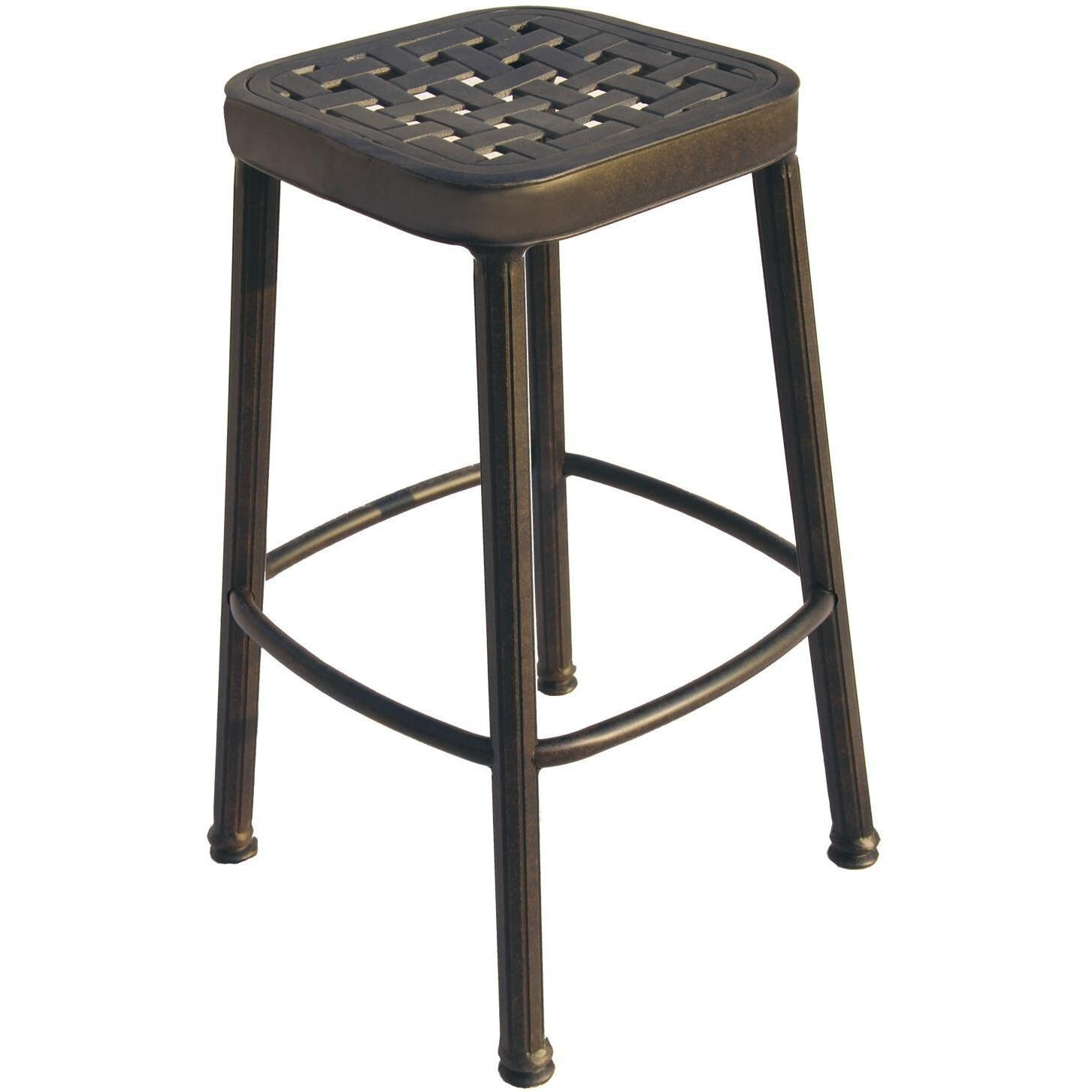darlee cast aluminum outdoor patio round square bar stool antique bronze