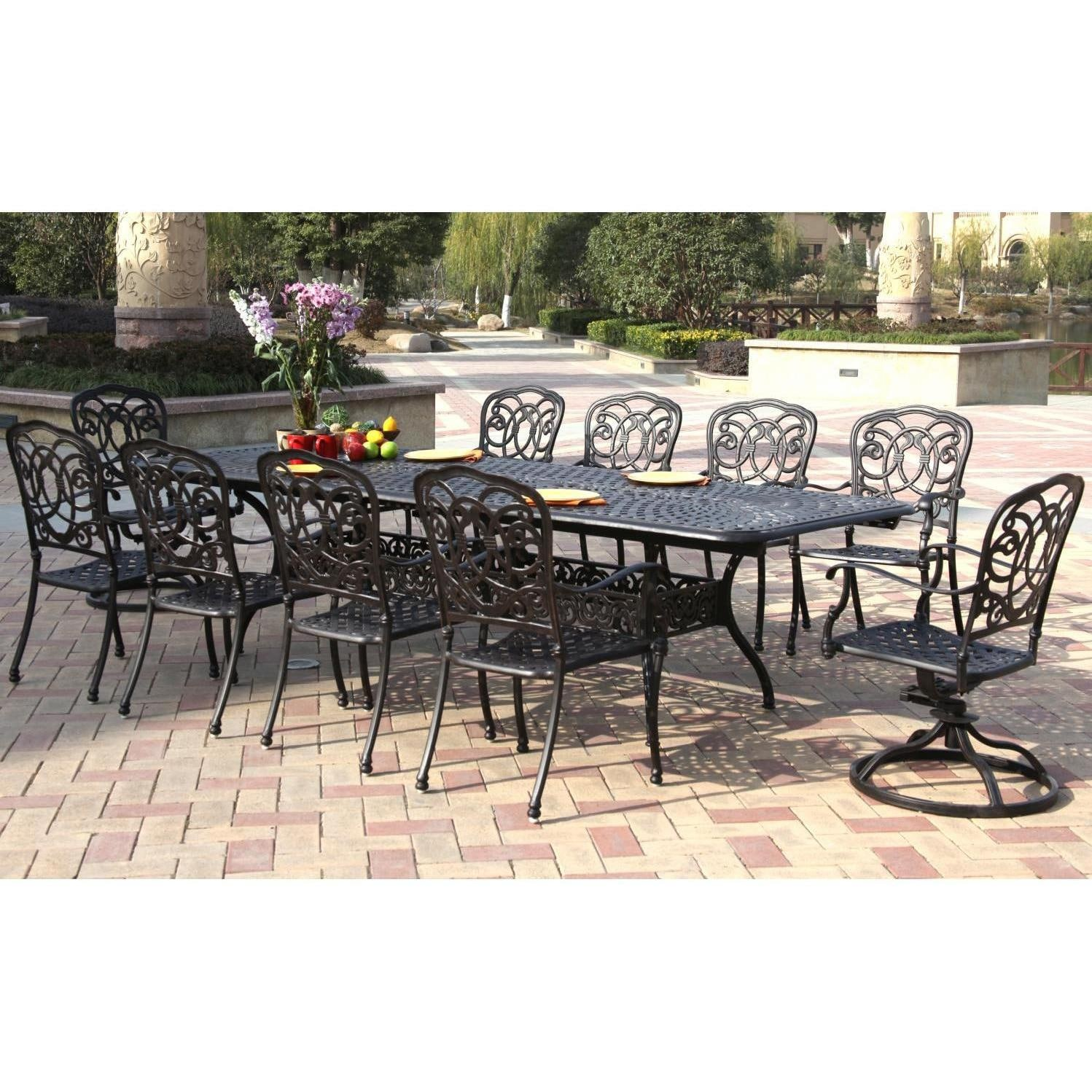 Darlee florence 11 piece cast aluminum patio dining set for 11 piece dining table set