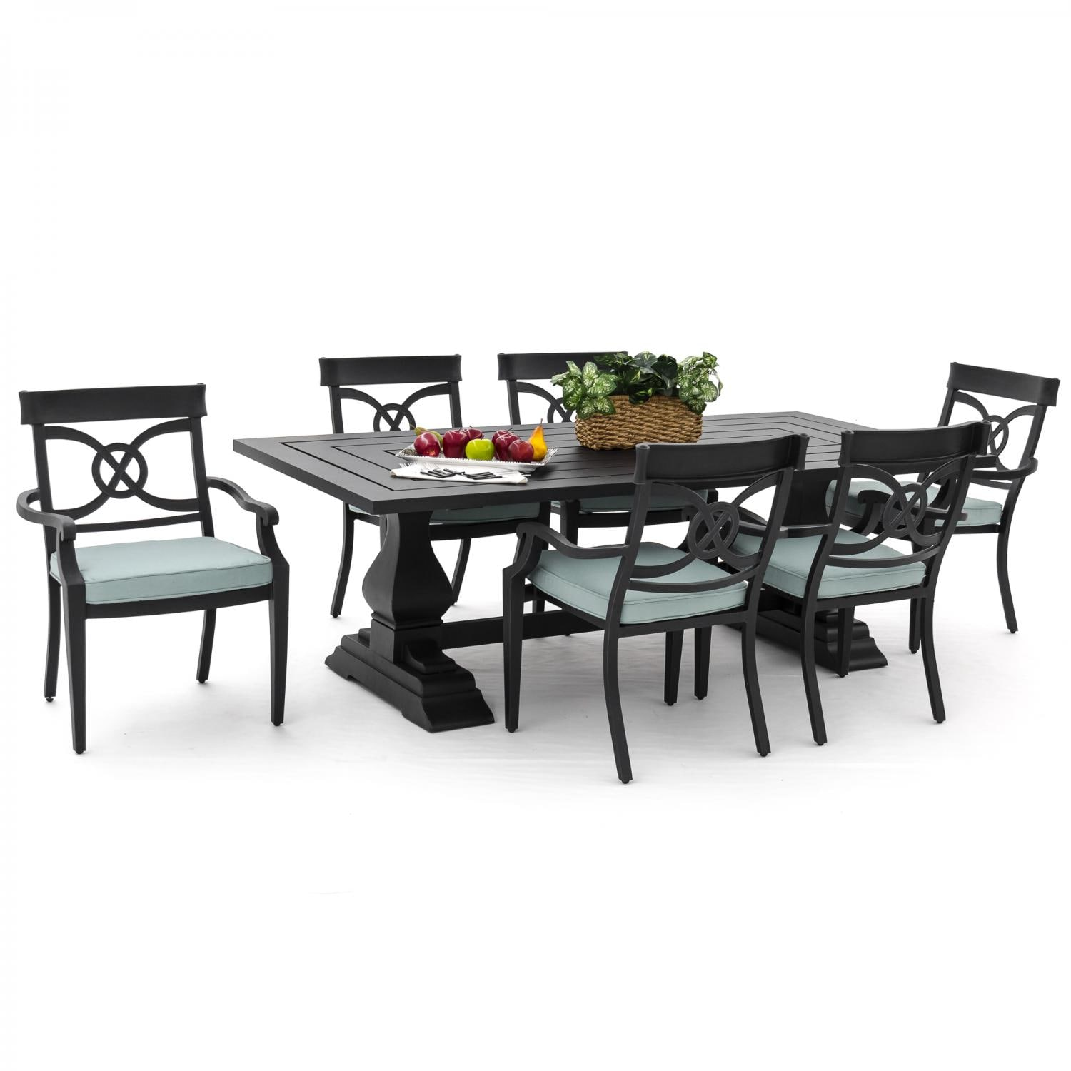 St charles 7 piece cast aluminum patio dining set with for Canvas dining