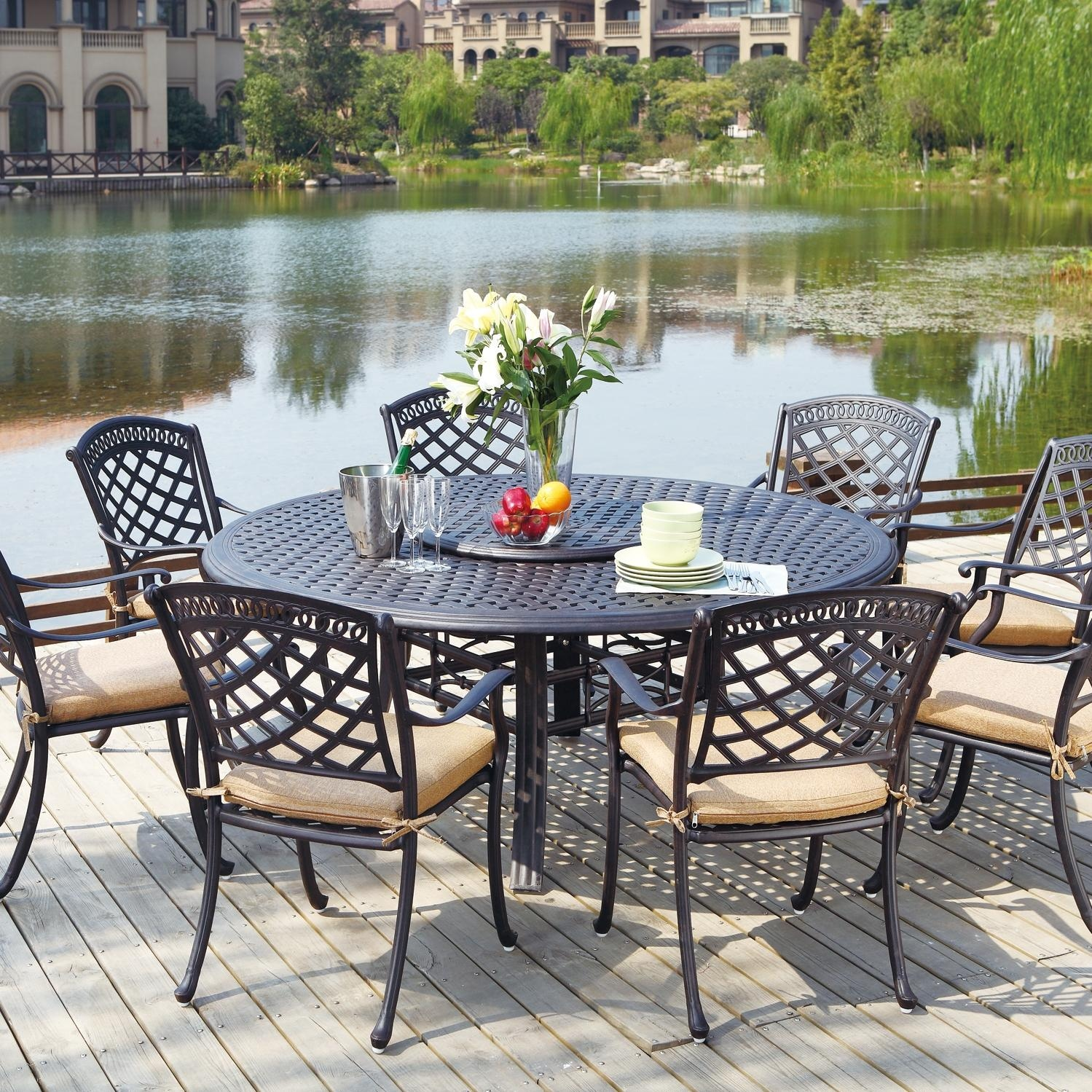 Darlee Sedona 9 Piece Cast Aluminum Patio Dining Set With Lazy Susan Antique Bronze
