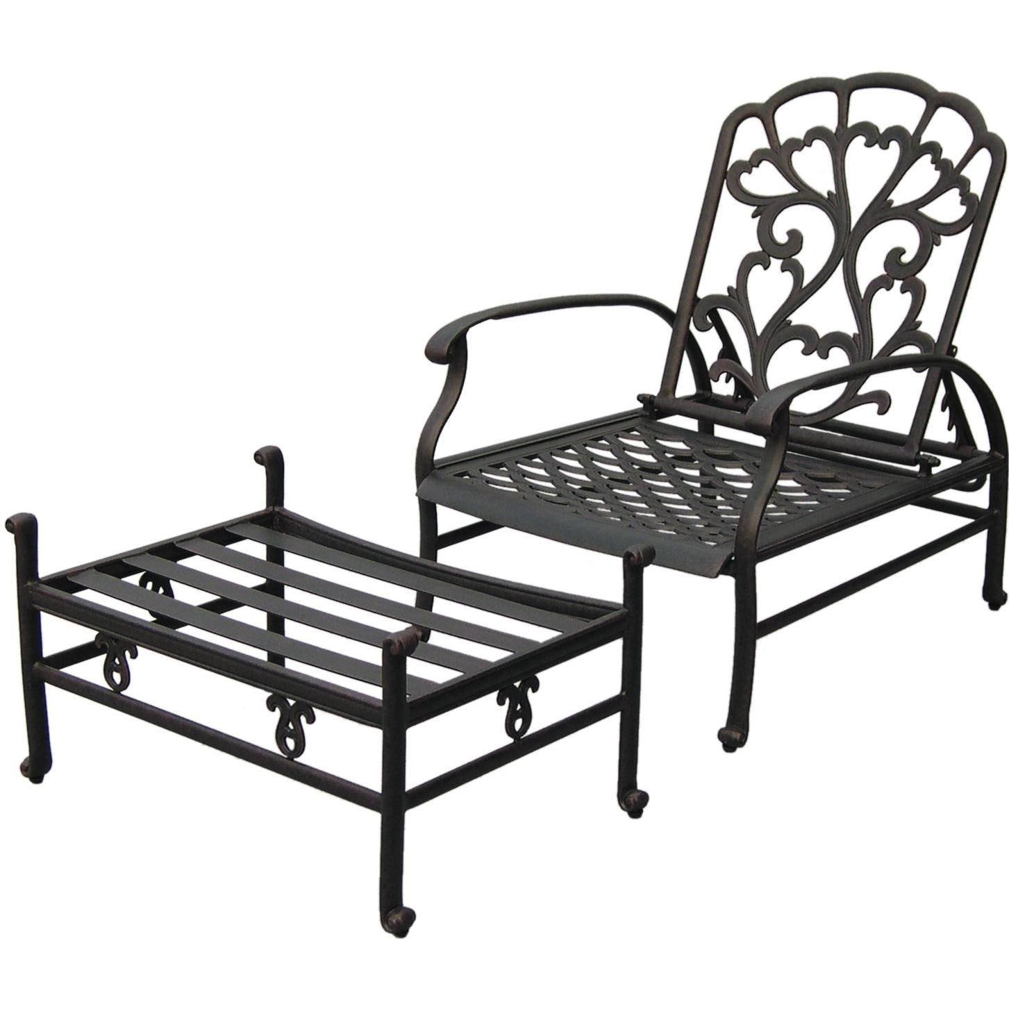 Darlee Catalina Cast Aluminum Patio Reclining Club Chair And – Reclining Chairs with Ottomans