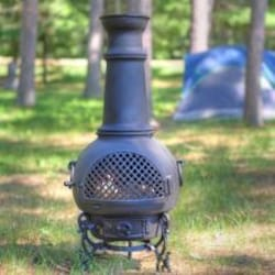 The Blue Rooster Gatsby Style Cast Aluminum Chiminea With Propane Gas Conversion Kit - Gold Accent image