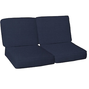 Sunbrella Canvas Navy 4 Piece Medium Outdoor Replacement Loveseat Cushion Set W/ Piping By BBQGuys image