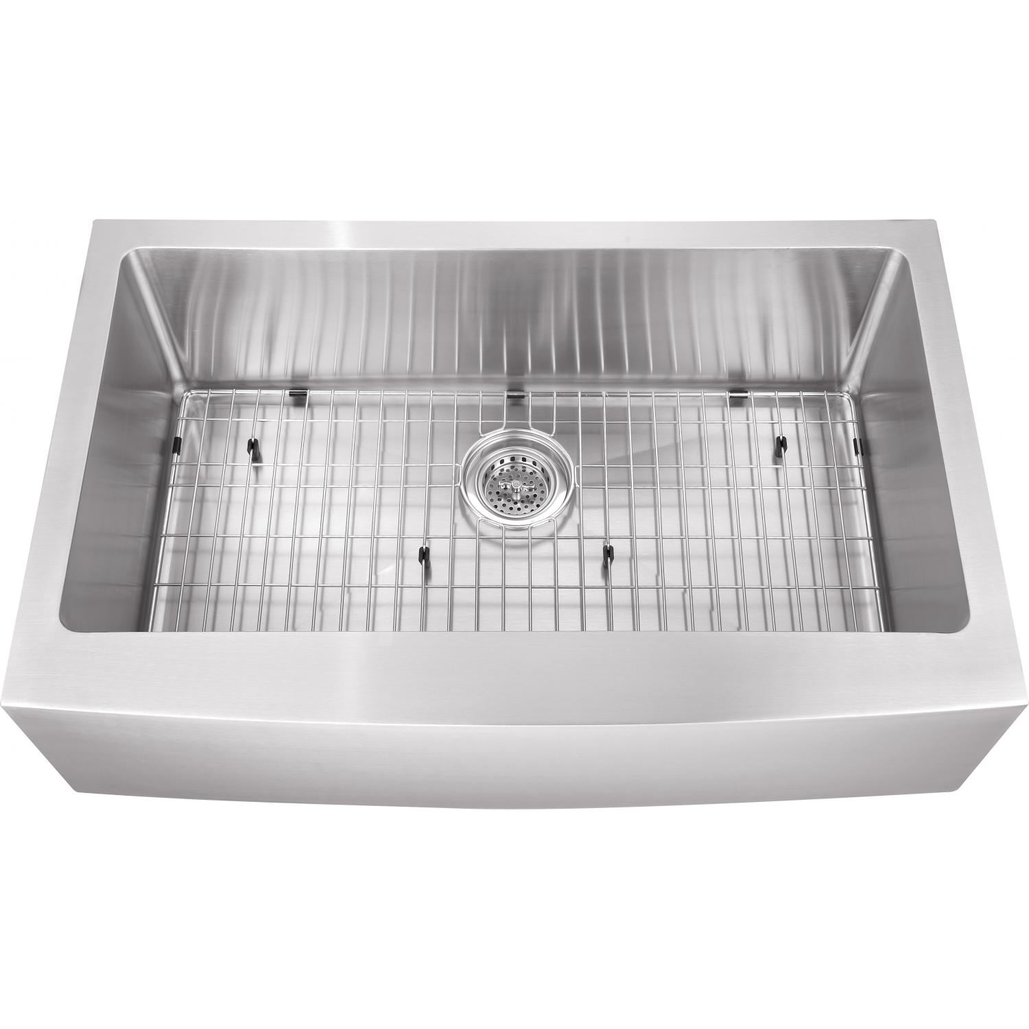 Platinum Sinks 32 X 20 16-Gauge Single Bowl Stainless Steel Apron Undermount Sink With Strainer And Grid