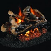 Peterson Real Fyre 24-Inch Rugged Split Oak See-Thru Gas Log Set With Vented G45 Burner - Match Light