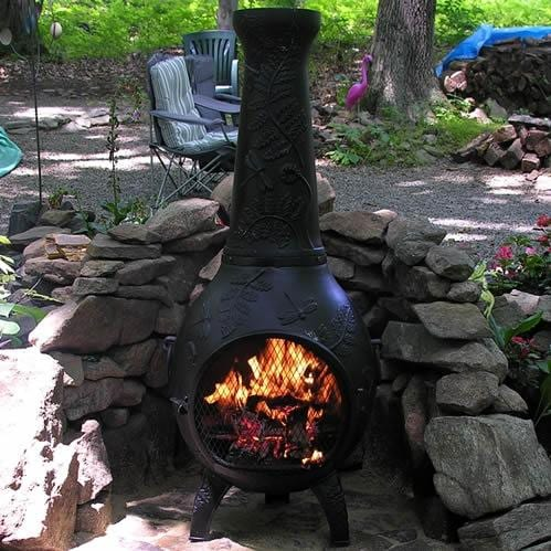 The Blue Rooster Dragonfly Style Cast Aluminum Chiminea Charcoal Bbq Guys