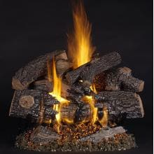 Rasmussen 30-Inch TimberFire Gas Log Set With Vented Natural Gas LC Multi- Burner - Variable Flame Remote