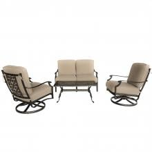 Carondelet 4 Piece Cast Aluminum Patio Conversation Set W/ Loveseat, Swivel Rocker Club Chairs & Sunbrella Spectrum Sand Cushions By Lakeview Outdoor Designs Carondelet 4 Piece Cast Aluminum Patio Conversation Set W/ Loveseat, Swivel Rocker Club Chairs & Sunbrella Spectrum Sand Cushions By Lakeview Outdoor Designs - Without Pillows