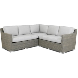 Majorca 3 Piece Wicker Patio Sectional Set W/ Sunbrella Cast Silver Cushions By Sunset West image
