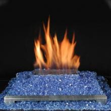 Rasmussen 20-Inch Cobalt Blue ALTERNA See-Thru FireGlitter Set With Vent Free Natural Gas Stainless Steel Chassis Burner - Variable Flame Remote image