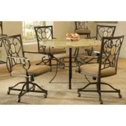 Hillsdale Brookside Dining Set Round Table With Oval Back Caster Chairs 5 Piece - 4815DTRNBCOVC image