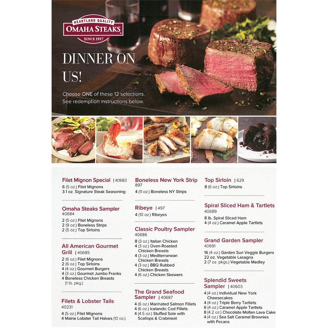 Free Omaha Steaks Dinner On Us Collection Gift Certificate From Evo
