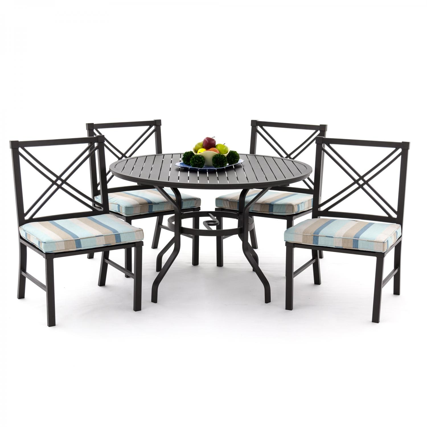 piece aluminum patio dining set with side chairs and round table