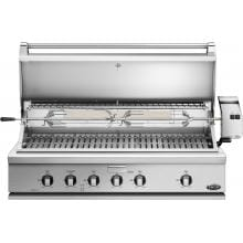DCS Professional 48-Inch Built-In Natural Gas Grill With Rotisserie - BH1-48R-N DCS 48-Inch Built-In Gas Grill - Hood Open