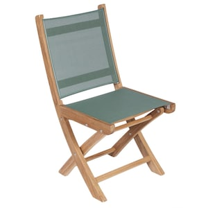 Sailmate Folding Teak Patio Dining Side Chair W/ Moss Sling By Royal Teak Collection image