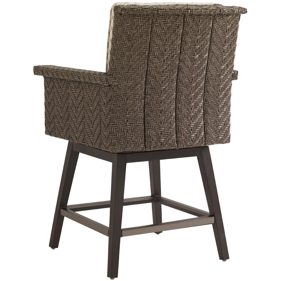 Tommy Bahama Blue Olive Wicker Patio Swivel Counter Height