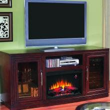 Baxter 70-Inch Electric Fireplace Media Console And Wine Cooler - Empire Cherry - 26TF2322 Baxter 70-Inch Electric Fireplace Media Console And Wine Cooler - Empire Cherry - 26TF2322
