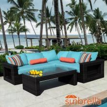 Gentilly 3 Piece Wicker Patio Sectional Set W/ Left Arm Loveseat & Sunbrella Canvas Aruba Cushions By Lakeview Outdoor Designs