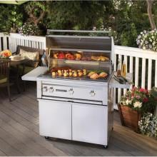 Lynx Sedona Pre-Assembled 36-Inch Freestanding Natural Gas Grill With One Infrared ProSear Burner And Rotisserie - L600PSFR-NG Lynx Sedona 36-Inch Freestanding Gas Grill With One ProSear Burner And Rotisserie - On Patio