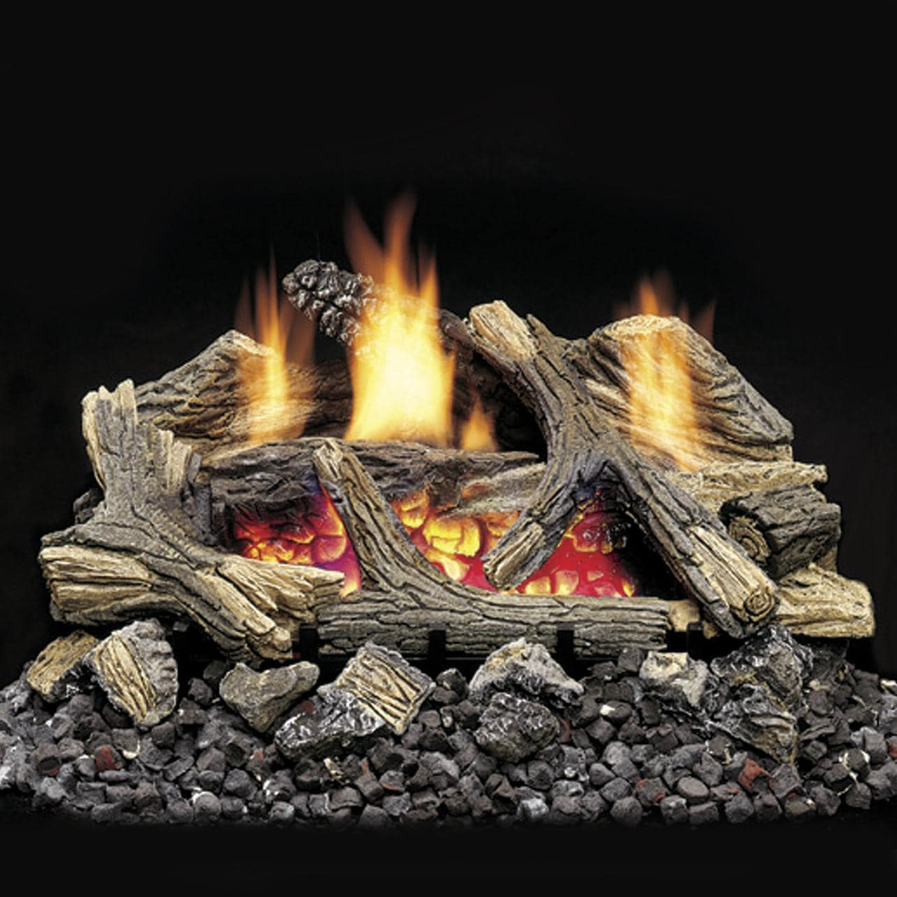 Monessen Aged Hickory 24-Inch Vent Free Gas Log Set W/ Natural Gas Ember Blaze Burner - Millivolt On/Off Remote Ready