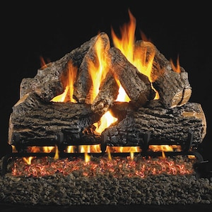 Peterson Real Fyre 16-Inch Charred Oak Gas Log Set With Vented Natural Gas G4 Burner - Match Light image