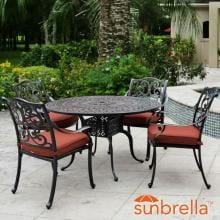 Villa Flora 5 Piece Cast Aluminum Patio Dining Set W/ Round Table & Sunbrella Canvas Henna Cushions By Lakeview Outdoor Designs image