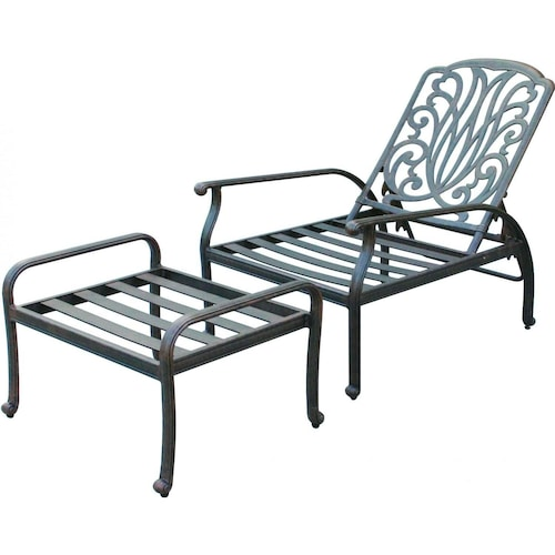 Darlee Elisabeth Cast Aluminum Patio Reclining Club Chair And – Reclining Chairs with Ottomans