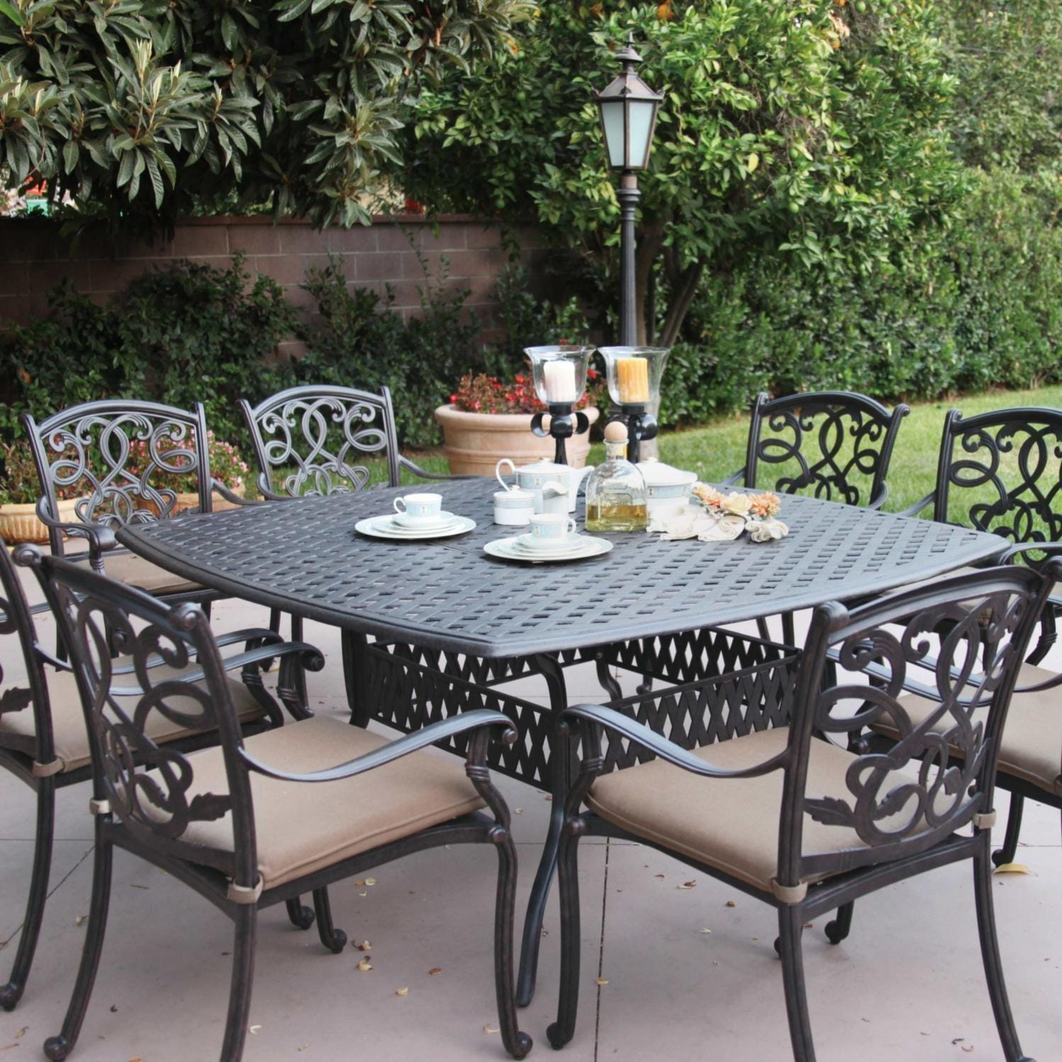 Darlee Santa Monica 9 Piece Cast Aluminum Patio Dining Set With Square Table