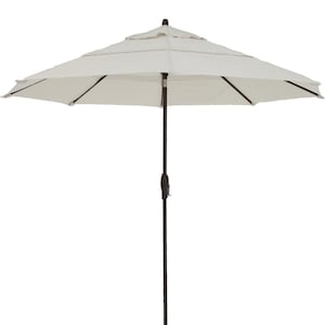 Treasure Garden 11 Ft. Octagonal Aluminum Auto Tilt Patio Umbrella W/ Crank Lift & Double Vent - Bronze Frame / Sunbrella Canvas Canvas Canopy image